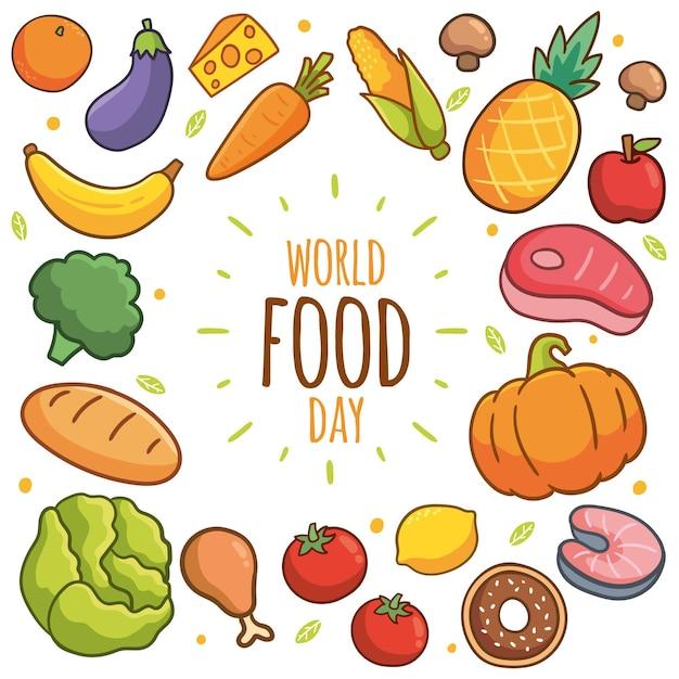 Ręcznie Rysowane światowy Dzień żywności Cocnept Darmowych Wektorów