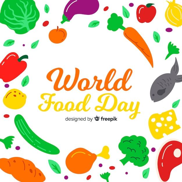 Ręcznie Rysowane światowy Dzień żywności Z Warzywami Darmowych Wektorów