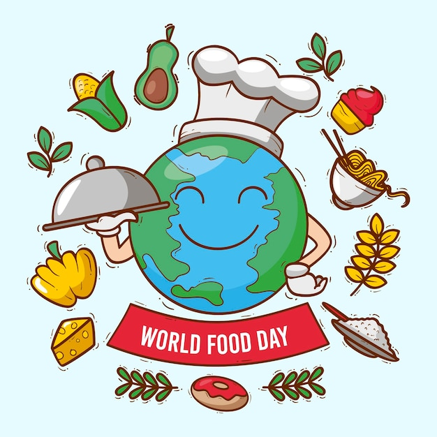 Ręcznie Rysowane światowy Dzień żywności Premium Wektorów
