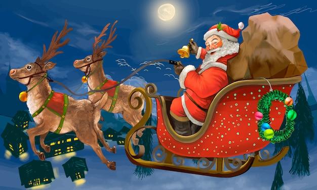 Ręcznie Rysowane świętego Mikołaja, Jazda Na Sankach Dostarczanie Prezentów Darmowych Wektorów