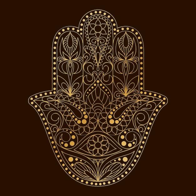 Ręcznie Rysowane Symbol Hamsa. Ręka Fatimy. Premium Wektorów