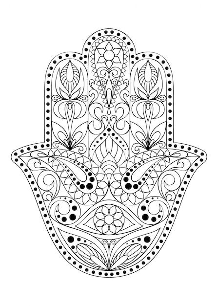 Ręcznie Rysowane Symbol Hamsa. Premium Wektorów