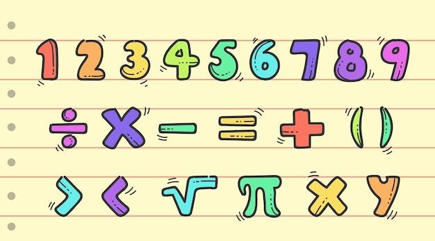 Ręcznie Rysowane Symbole Matematyczne I Cyfry Darmowych Wektorów