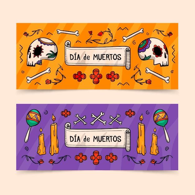 Ręcznie Rysowane Szablon Banery Dia De Muertos Darmowych Wektorów