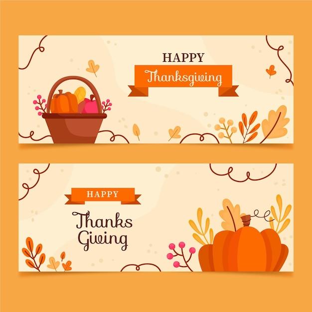 Ręcznie Rysowane Szablon Banery Dziękczynienia Darmowych Wektorów