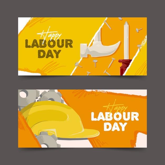 Ręcznie Rysowane Szablon Banery święto Pracy Darmowych Wektorów