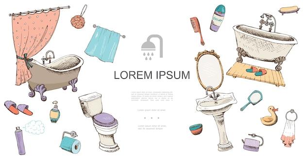 Ręcznie Rysowane Szablon Elementów łazienki Darmowych Wektorów