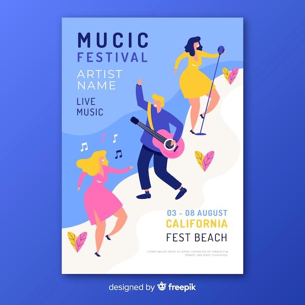 Ręcznie rysowane szablon festiwalu festiwalu muzyki Darmowych Wektorów