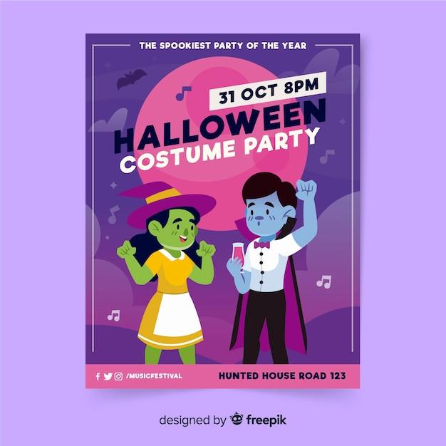 Ręcznie Rysowane Szablon Halloween Party Plakat Darmowych Wektorów