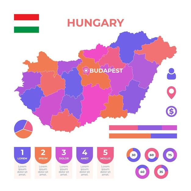 Ręcznie Rysowane Szablon Infografika Mapy Węgier Darmowych Wektorów