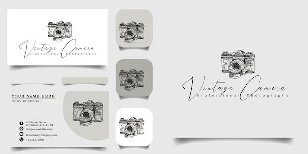 Ręcznie Rysowane Szablon Logo Vintage I Wizytówkę Premium Wektorów