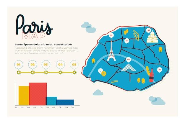 Ręcznie Rysowane Szablon Mapy Paryża Darmowych Wektorów