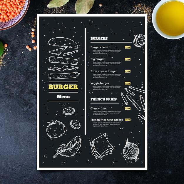 Ręcznie Rysowane Szablon Menu Burger Darmowych Wektorów