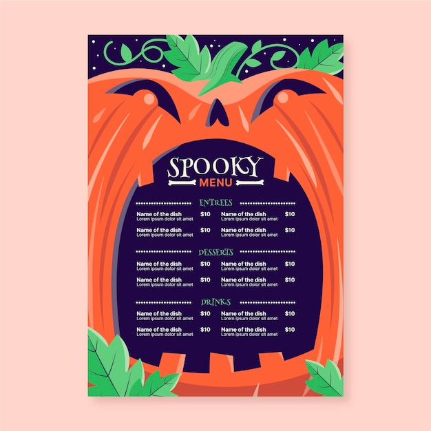 Ręcznie Rysowane Szablon Menu Halloween Darmowych Wektorów