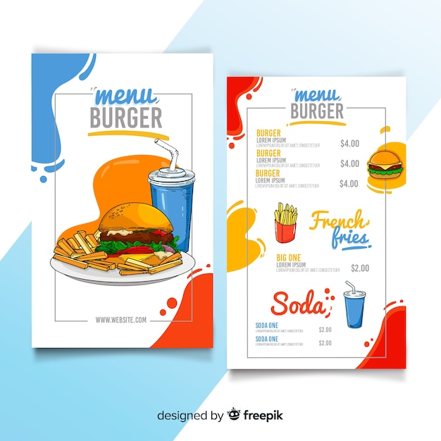 Ręcznie rysowane szablon menu restauracji burger Darmowych Wektorów