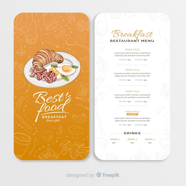 Ręcznie rysowane szablon menu restauracji Darmowych Wektorów