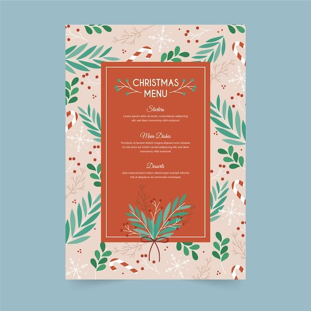 Ręcznie rysowane szablon menu świąteczne Darmowych Wektorów