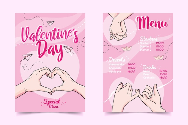 Ręcznie Rysowane Szablon Menu Walentynki Darmowych Wektorów