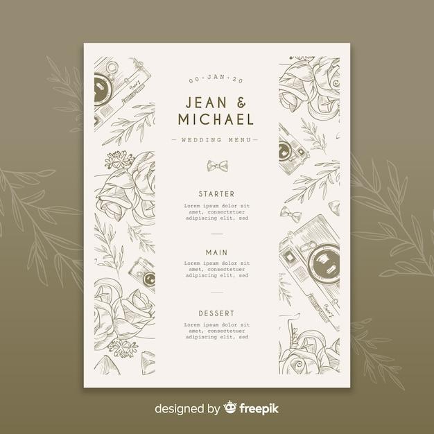 Ręcznie rysowane szablon menu wesele Darmowych Wektorów