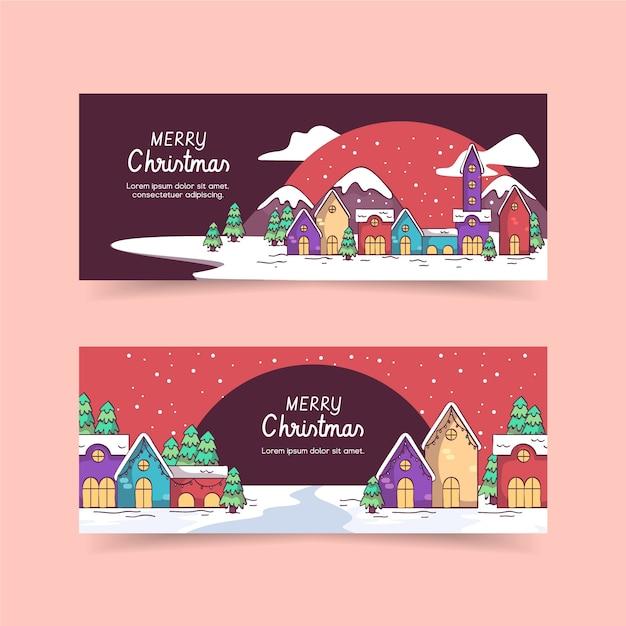 Ręcznie Rysowane Szablon Miasta Banery Boże Narodzenie Darmowych Wektorów