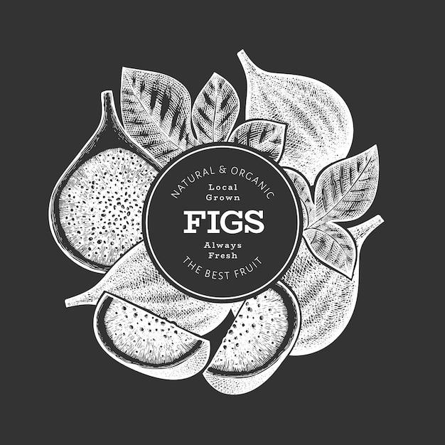 Ręcznie Rysowane Szablon Owoce Figi. Ilustracja Ekologicznej świeżej żywności Na Tablicy Kredowej. Baner Owoców Retro Fig. Premium Wektorów