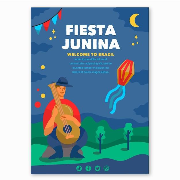 Ręcznie Rysowane Szablon Plakat Festa Junina Darmowych Wektorów