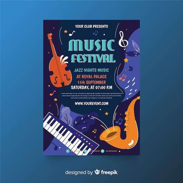 Ręcznie rysowane szablon plakat festiwal muzyczny Darmowych Wektorów