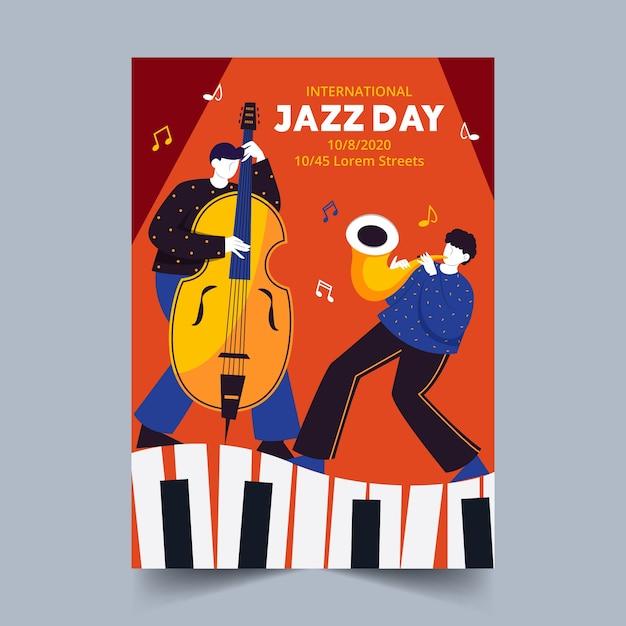 Ręcznie Rysowane Szablon Plakat Międzynarodowego Dnia Jazzu Darmowych Wektorów