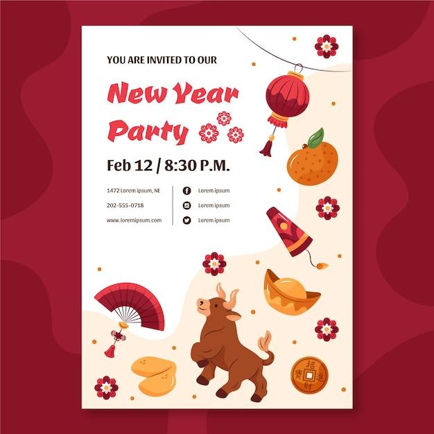 Ręcznie Rysowane Szablon Plakatu Na Chiński Nowy Rok Darmowych Wektorów