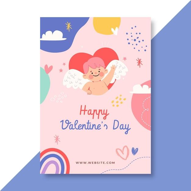 Ręcznie Rysowane Szablon Plakatu Na Walentynki Dla Dzieci Darmowych Wektorów