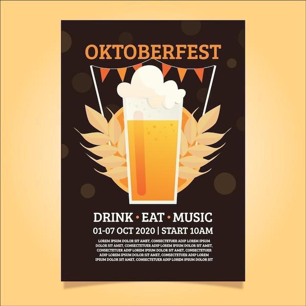 Ręcznie Rysowane Szablon Plakatu Oktoberfest Darmowych Wektorów