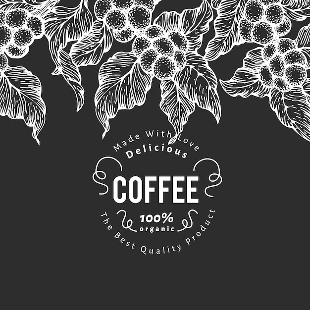 Ręcznie Rysowane Szablon Projektu Kawy. Ilustracje Wektorowe Kawowca Na Tablicy Kredowej. Vintage Naturalne Tło Kawy Premium Wektorów