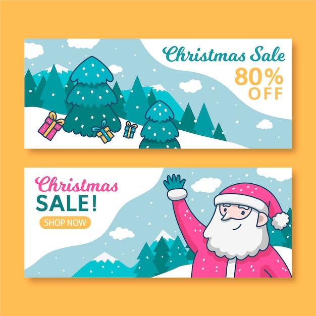 Ręcznie Rysowane Szablon Sprzedaż Banery Boże Narodzenie Darmowych Wektorów