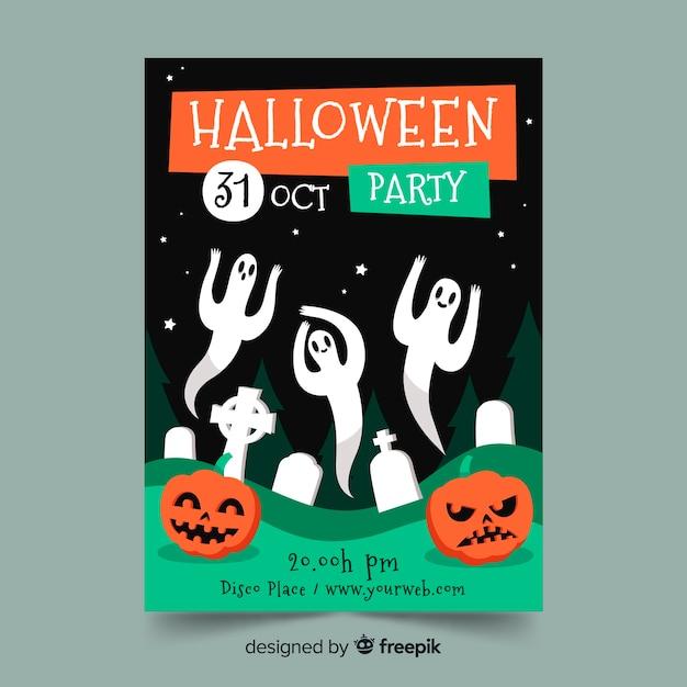 Ręcznie rysowane szablon strony halloween plakat z duchami Darmowych Wektorów