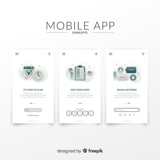 Ręcznie rysowane szablon transparent aplikacji mobilnych Darmowych Wektorów