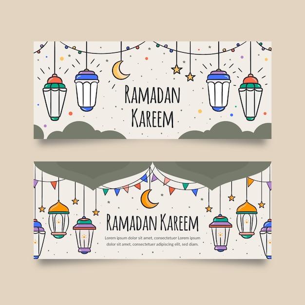 Ręcznie Rysowane Szablon Transparent Ramadan Darmowych Wektorów