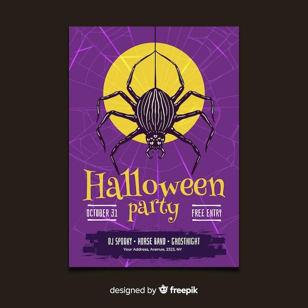 Ręcznie Rysowane Szablon Ulotki Halloween Party Darmowych Wektorów