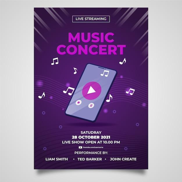Ręcznie Rysowane Szablon Ulotki Koncert Muzyki Strumieniowej Na żywo Darmowych Wektorów
