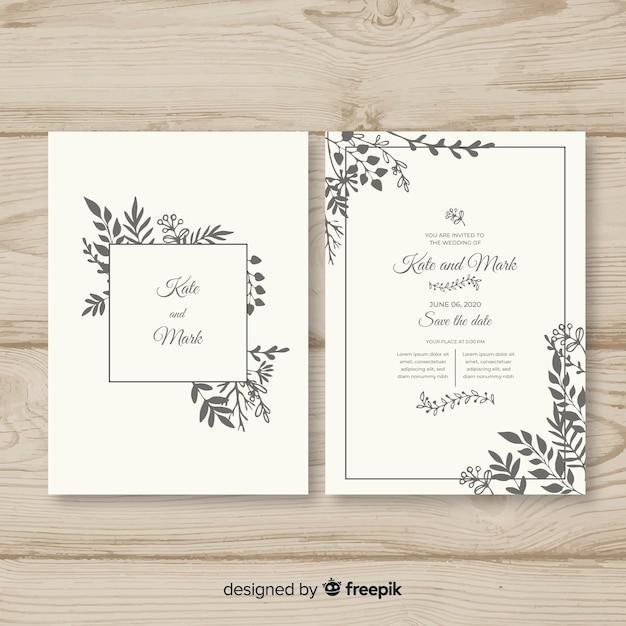 Ręcznie rysowane szablon zaproszenia ślubne Darmowych Wektorów