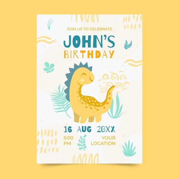Ręcznie Rysowane Szablon Zaproszenia Urodzinowe Dinozaura Darmowych Wektorów