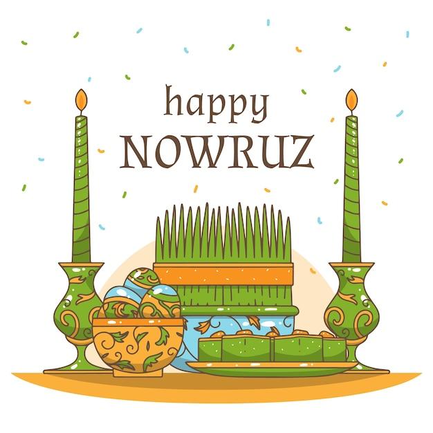 Ręcznie Rysowane Szczęśliwe Wydarzenie Nowruz Day Darmowych Wektorów
