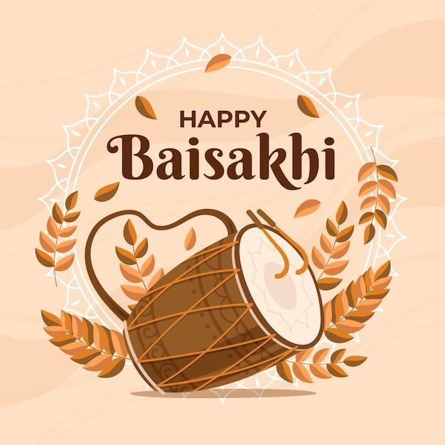 Ręcznie Rysowane Szczęśliwy Baisakhi Darmowych Wektorów