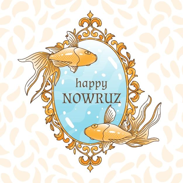 Ręcznie Rysowane Szczęśliwy Dzień Nowruz Darmowych Wektorów