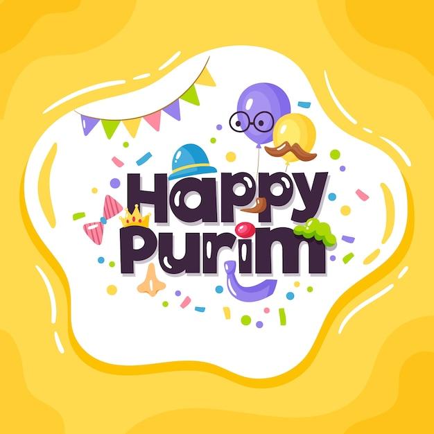 Ręcznie Rysowane Szczęśliwy Dzień Purim Premium Wektorów