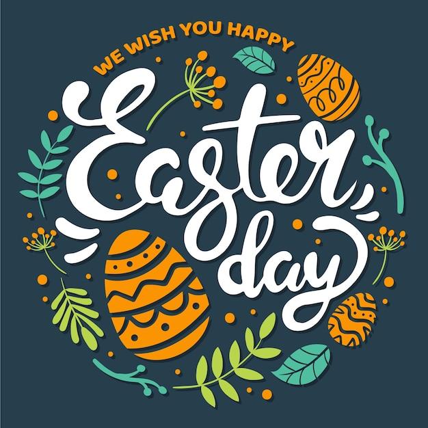 Ręcznie Rysowane Szczęśliwy Dzień Wielkanocy Darmowych Wektorów