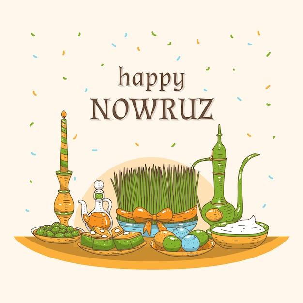 Ręcznie Rysowane Szczęśliwy Nowruz Dzień Koncepcji Darmowych Wektorów