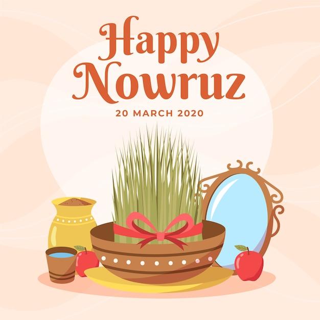 Ręcznie Rysowane Szczęśliwy Nowruz I Trawy W Misce Darmowych Wektorów