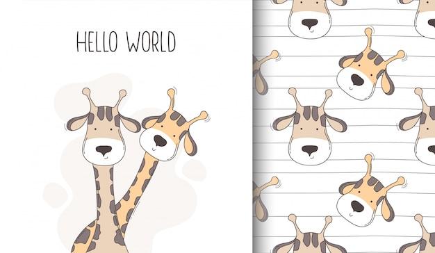 Ręcznie Rysowane Szczęśliwy żyrafa Wzór I Kartkę Z życzeniami. Premium Wektorów