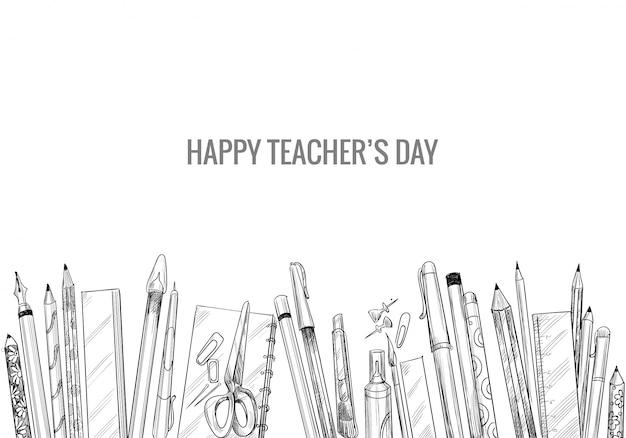 Ręcznie Rysowane Szkic Artystyczny Z Kompozycją Dnia Nauczycieli świata Darmowych Wektorów