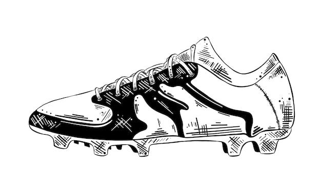 Ręcznie Rysowane Szkic Buta Piłkarskiego W Kolorze Czarnym Premium Wektorów